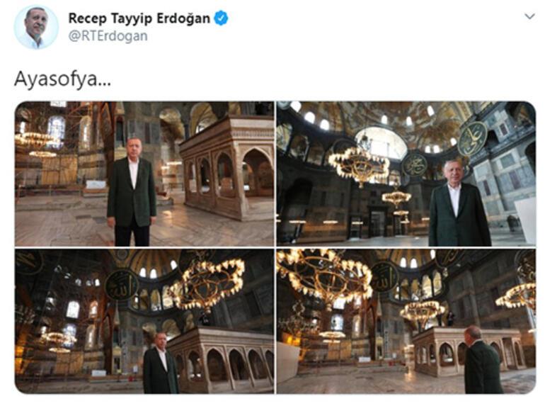 Son dakika... Ayasofyaya sürpriz ziyaret Cumhurbaşkanı Erdoğan paylaştı